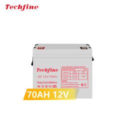 Batteria a ciclo profondo 12V 70ah Techfine AGM 12V 65ah 70ah 100 ah con lunga durata del ciclo per inverter