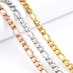 Comercio al por mayor de 18K gargantilla de acero inoxidable chapado en oro Figaro 3: 1 corto y largo plazo NK COLLAR DE CADENA PARA HOMBRES