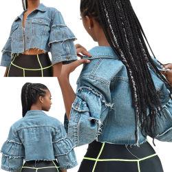 Venda por grosso de moda da luva esfoliante Senhoras Jaqueta Denim mulheres revista feminina Casual Jean Casacos Plus Size