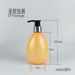 Haustier-Plastikflasche der Guangzhou-Zubehör-ovales Form-280ml mit Aluminiumlotion-Pumpe