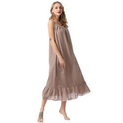 Banheira Romantic Solto Sleepwear Sexy Onesie algodão e linho pijamas mulheres saia do esteio Long vestir roupa de dormir