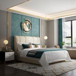 현대적인 럭셔리 가죽 메탈 킹과 퀸 목재 침실 침대 나이트 테이블 포함