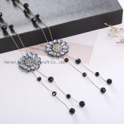 Cadeia de suéter moda flores de cristal encantador encantos Colar Ornament
