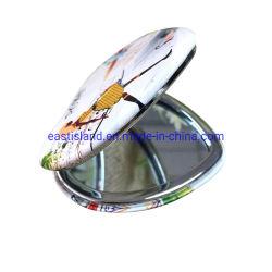 presente de promoção em forma de coração Custom Espelho compacto com revestimento de PU