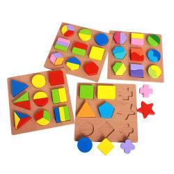 Kid au début de jouets éducatifs de bonne qualité standard de l'UE Econ-Friendly solide 3D colorée bébé puzzle couleur bois d'apprentissage