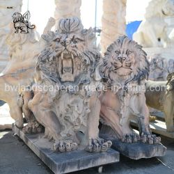 China fornecedor venda quente Lion estátua de mármore Escultura Animal para piscina Masc-05