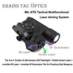 Nações Unidas adoptou Pke Mil-Std Laser 4 em 1 gavetas de IPX8 Arma espingarda táctico 280 lumens lanterna LED Iluminador laser infravermelho laser verde diante do colimador