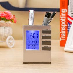 居眠りの時間データ温度の容器が付いているLCDアラーム表のペンのホールダーのクロック