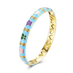 Or la goutte d'huile de fleur Bangle pour les jeunes filles Mode Filles Bracelet