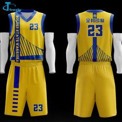 Custom Gold Sublimation Men's Cool imprimé tee-shirts de basket-ball