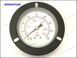 Gpg-013 Negro acero manómetro de baja corriente de conexión de la cápsula de gas Kpa Manómetro con brida de montaje frontal /Volver Manómetro de aire