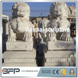 Animal White granit naturel statues en pierre sculptée//sculpture pour la décoration de jardin