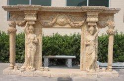 装飾ベージュの花こう岩の石の彫刻の大理石の暖炉
