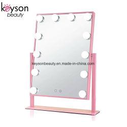 Estrutura em alumínio rosa Makeup Quadro luz LED de espelho de maquilhagem