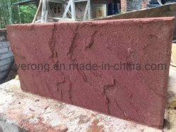Natürlicher Riss/Pilz/zogen roten Oberflächensandstein für Wand-Dekoration oder Plasterung ab