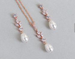Pearl mariage CZ NECKLACE Bijoux Set, CZ, DE Bijoux de mariée demoiselle d'honneur bijoux Set, Don CZ bijoux Set