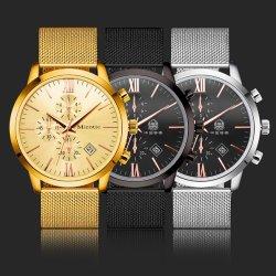 Het Horloge van de Legering van de manier met het Horloge van de Zwarte Zilveren Gouden Mensen van de Band van het Netwerk van de Kalender (jy-AL010)