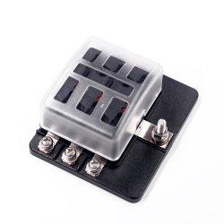 6-Way Portafusibles perno terminal- Titular de la caja de fusibles ATC/ATO con indicación de luz LED y cubierta de protección .