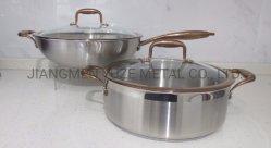 De Reeks van de Pot en van de Wok van de Voorraad van het roestvrij staal, Inductie Cookware, Professioneel Keukengerei