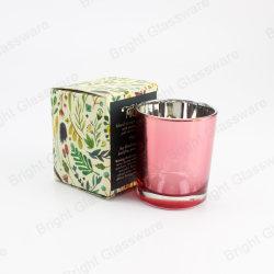 Розовый Electroplated стекла при свечах пустой держатель при свечах с упаковкой,