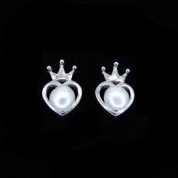 Européen de bijoux en forme de la Couronne impériale réel Affichage style Royal Pearl Earrings