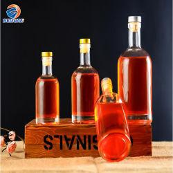 Venta caliente 500ml Vacío inferior grueso botellas de vidrio transparente con tapón de goma para el Vodka Artesanía