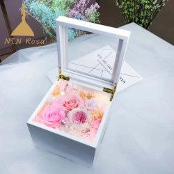 Formidable Boîte à musique de fleur en bois blanc pour cadeau ou de décoration