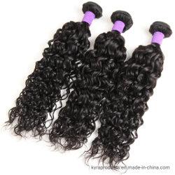 ブラジルの毛水波の束は滑らかになり、柔らかい人間の毛髪の織り方は自然な黒100%の人間の毛髪の部分を束ねる
