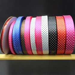 0.6cm/1cm/1.5cm/2cm/2.5cm Satin gedruckte Farbband-Druck PUNKT Großverkauf-Weihnachtsfarbe Ribbon-Dy10037