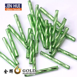 Commerce de gros Verre Long Bugle Twist Perles de semences pour la décoration
