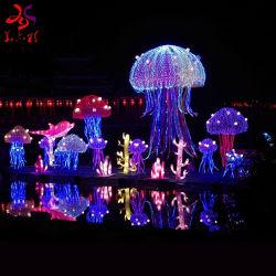 Neuestes im Freien wasserdichtes 3D LED Beleuchtung-Metallrahmen-Silk Tuch-handgemachte kundenspezifische Seeweltqualle-Laternen
