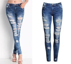 Plus Slanke Jeans van de Jeans van de Grootte de Meisje Beschadigde