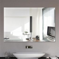 """12mmの斜めの端が付いている4mm長方形14 """" x18 """"二重上塗を施してあるアルミニウムミラーの銀ミラーの浴室のDeocrative Framelessミラー"""