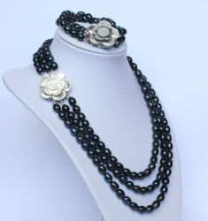3組の繊維の淡水の黒い真珠の宝石類のネックレスセット(ES1332)