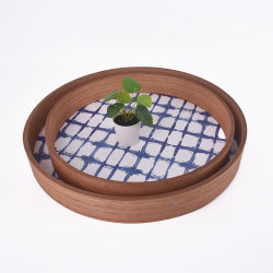Ronda de madeira serve café bandejas com pega de 2