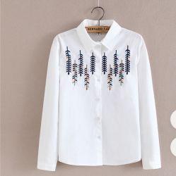 2020人の女性の秋の偶然の方法によって刺繍される長袖の綿のブラウス