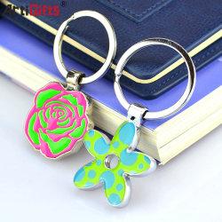 Flores de cor personalizado Chaveiro de Metal Porta-chaves