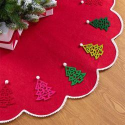 2020 새로운 해외 무역 크리스마스 나무 치마 DIY 빨간 레이스 펀던트 나무 치마 120cm 비 길쌈된 직물 나무 치마
