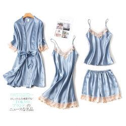 Высокое качество устраивающих пижама женщин Satin пижама установить Sexy Sleep износа