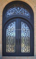 Decoración de lujo hechos a mano la seguridad de la puerta de hierro con travesaño