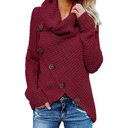 Outono Inverno as mulheres a cor de contraste Turtleneck Pullovers Crochet Feminino Chic Senhoras Jumpers suéter