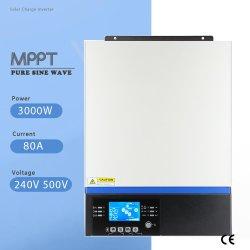 MPPT 80A 3000W de charge solaire Convertisseur à onde sinusoïdale pure et le régulateur 24V 230V entrée PV 50Hz 60Hz Bluetooth avec écran LCD du panneau de commande