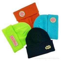 Plaine de gros de l'acrylique hiver chaud Bonnie personnalisé tricot Chapeau tricoté Slouch cuir Cool Beanie Hat
