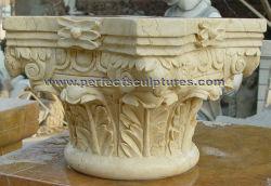 Jardin décoratif d'accueil Pierre sculptée Cap colonne romaine de sculpture sur marbre pilier pilastre capitales pour la décoration intérieure (QCM133)