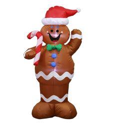 Os brinquedos infláveis Airblown adorável Natal Gingerbread Man roupa com luz LED para decoração de terceiros