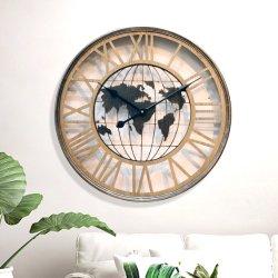 스켈레톤 맵 도매 커스텀 큰 로마 시계 현대 금속 벽시계