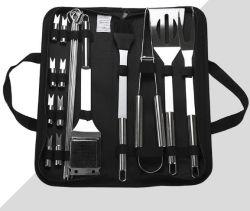 Vender no local 18 peças de aço inoxidável churrascos utensílios de grelhar churrasco grill Conjunto de ferramenta com estojo de alumínio