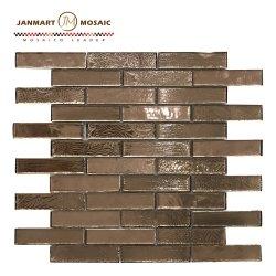 贅沢なローズの金のクリスタルグラスの組合せのステンレス鋼の金属パターン装飾のモザイク壁のタイル