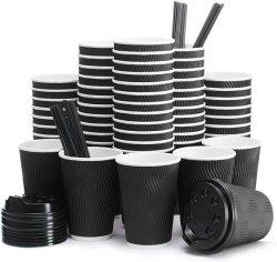 일회용 종이컵 인쇄 테이크어웨이 커피 종이컵(과 함께) 누수 방지 덮개