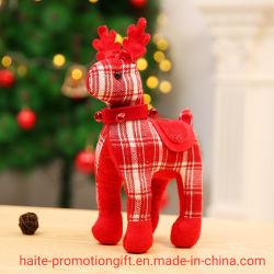 Небольшой размер рождественских подарков Клетчатую оленя оформление фаршированные животных рождественские украшения кукла Декор окна